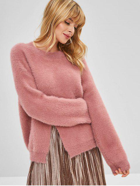 outfit Front Slit Fuzzy Crew Neck Sweater - LIPSTICK PINK ONE SIZE Mobile