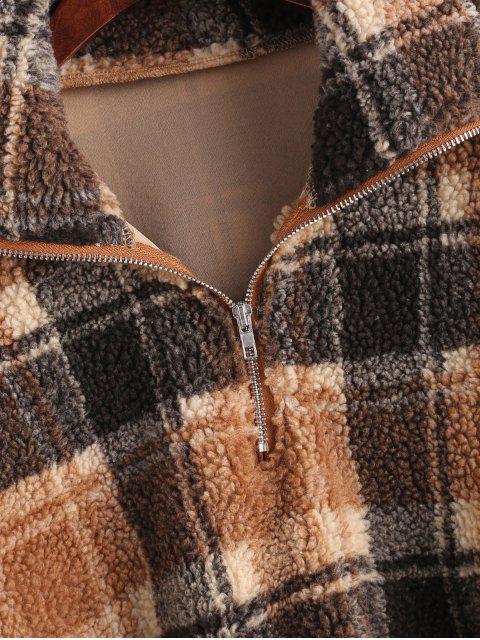 affordable Plaid Crop Faux Fur Sweatshirt - MULTI M Mobile