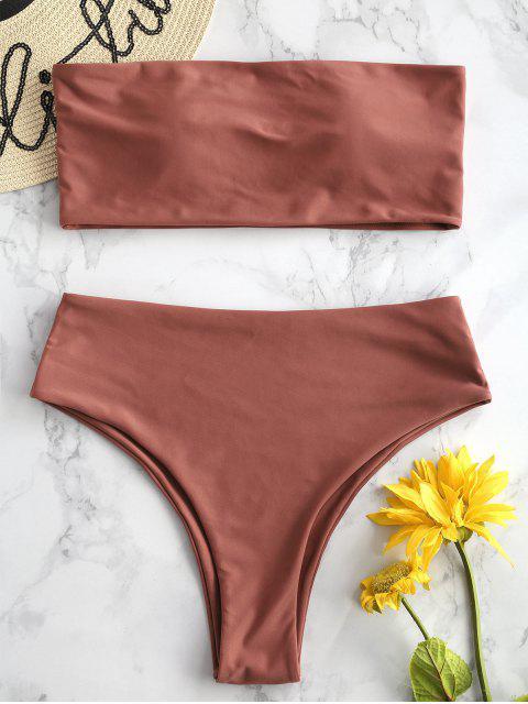 lady ZAFUL High Waisted Bandeau Bikini Set - CHESTNUT L Mobile