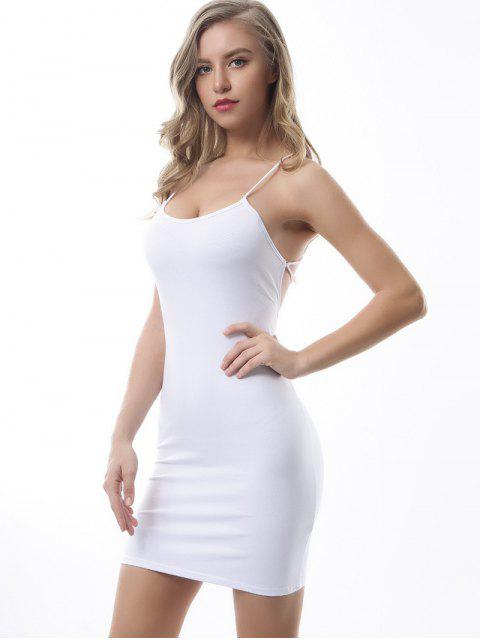 outfit Criss Cross Backless Bodycon Dress - WHITE S Mobile
