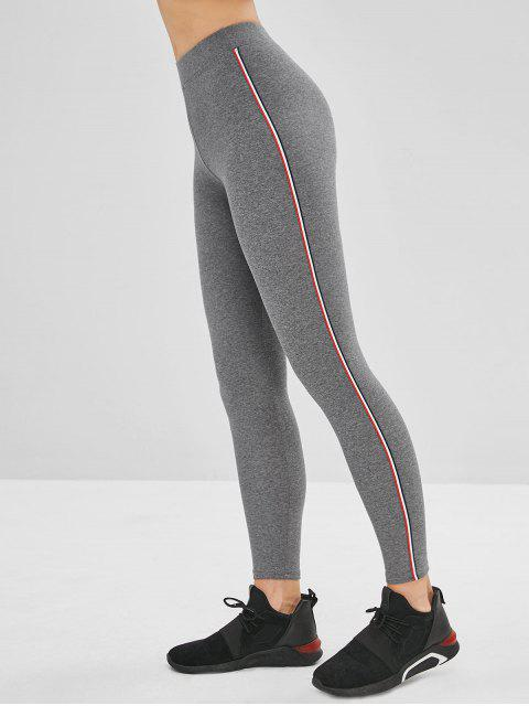 outfit High Waisted Striped Trim Leggings - GRAY ONE SIZE Mobile