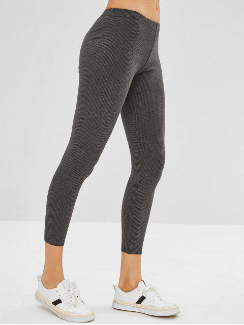 affordable Ribbed Knit Mid Rise Leggings - GRAY ONE SIZE Mobile