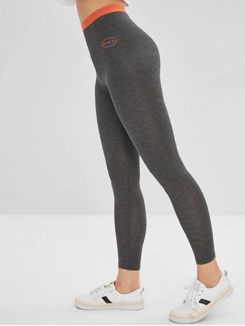fancy High Rise Contrast Waistband Leggings - GRAY ONE SIZE Mobile