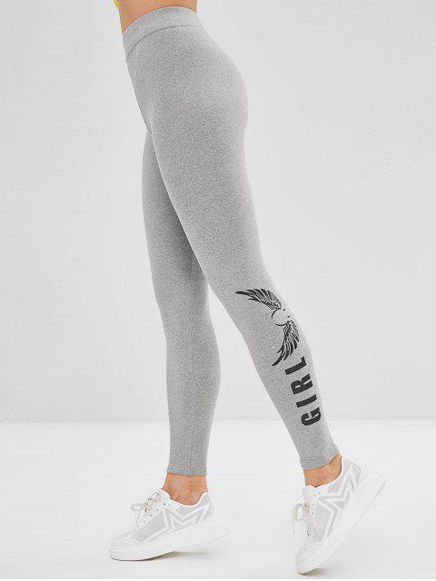 women's Elastic Print High Rise Leggings - LIGHT GRAY ONE SIZE Mobile