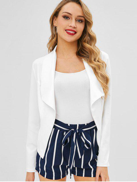 lady Open Front Wide Lapel Blazer - WHITE M Mobile