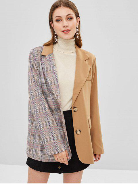 hot Color Block Flap Pockets Plaid Blazer - MULTI L Mobile