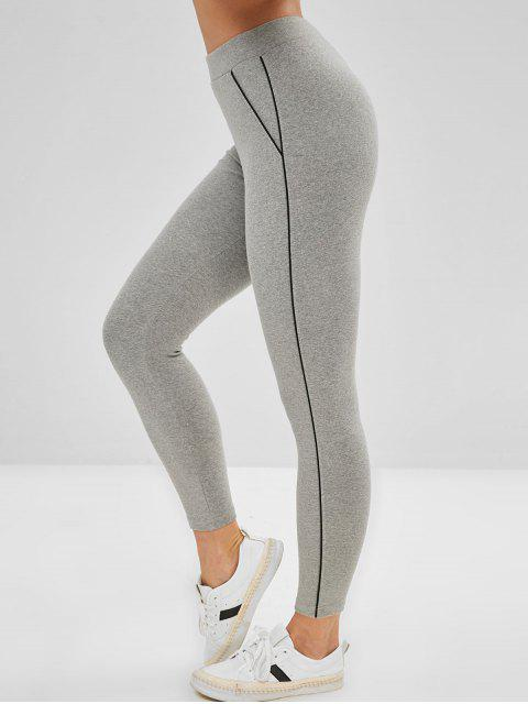 outfit High Rise Contrast Trim Leggings - GRAY ONE SIZE Mobile