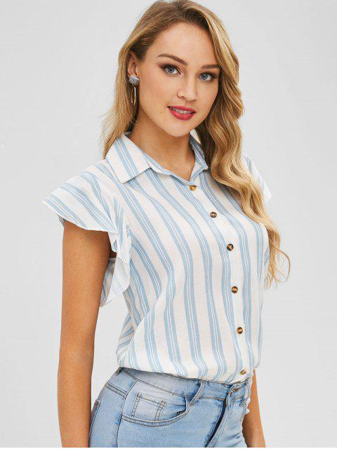 latest Striped Ruffle Sleeve Shirt - LIGHT BLUE S Mobile