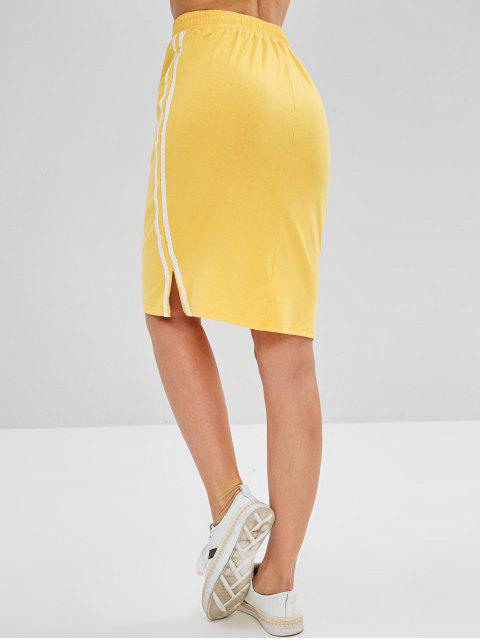 fashion Drawstring Side Stripe Pencil Sweat Skirt - YELLOW M Mobile