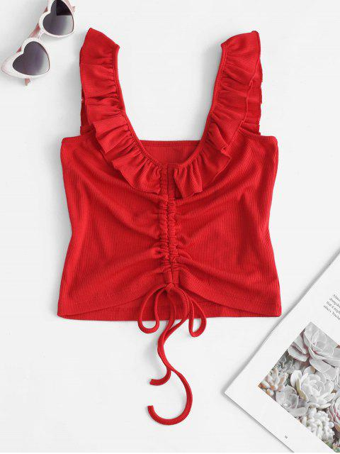 womens Ruffle Straps Cinched Crop Tank Top - RED M Mobile