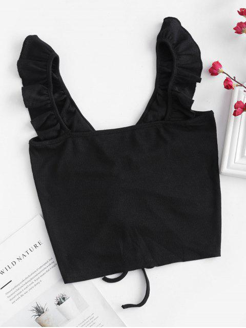 best Ruffle Straps Cinched Crop Tank Top - BLACK S Mobile