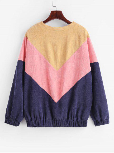 buy Color Block Corduroy Sweatshirt - MULTI S Mobile