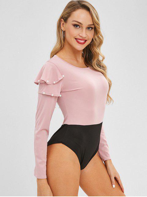 Bodysuit mit zwei Tönen und Rüschen - Pink M Mobile