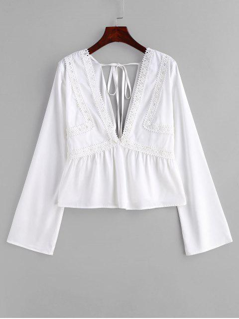 outfit ZAFUL Lace Panel Low Cut Blouse - WHITE L Mobile