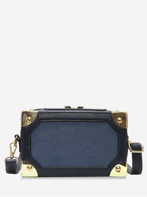 womens Square Box Shape Zipper Crossbody Bag - DARK SLATE BLUE  Mobile