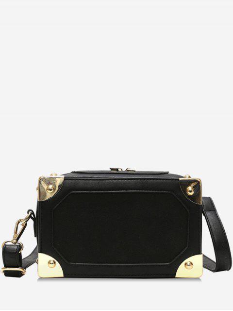 lady Square Box Shape Zipper Crossbody Bag - BLACK  Mobile
