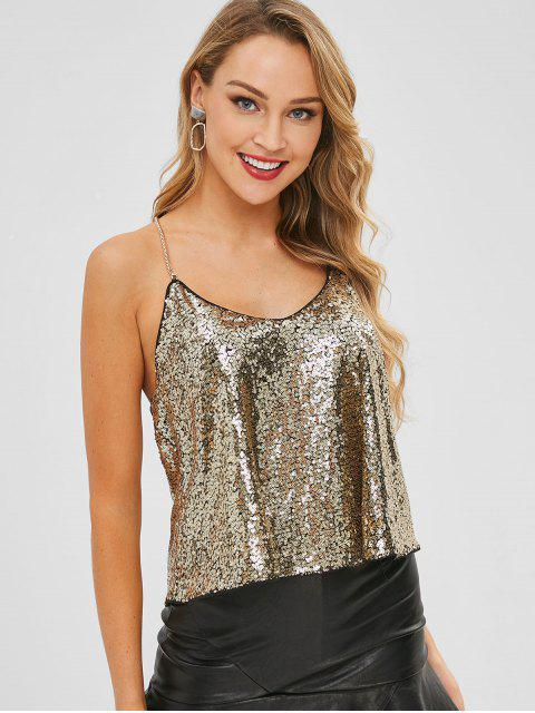 lady Chain Strap Party Cami Sparkly Sequin Top - GOLD ONE SIZE Mobile