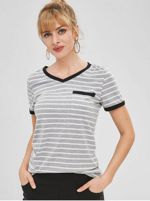 outfit Striped Patch Pocket V Neck Ringer Tee - GRAY S Mobile