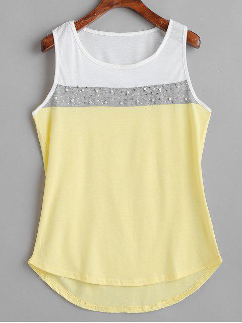 Camiseta sin mangas con perlas de imitación color block - Crema XL Mobile