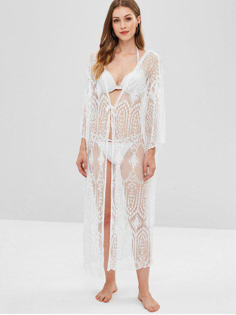 women Sheer Lace Long Kimono Beach Cover Up - WHITE ONE SIZE Mobile