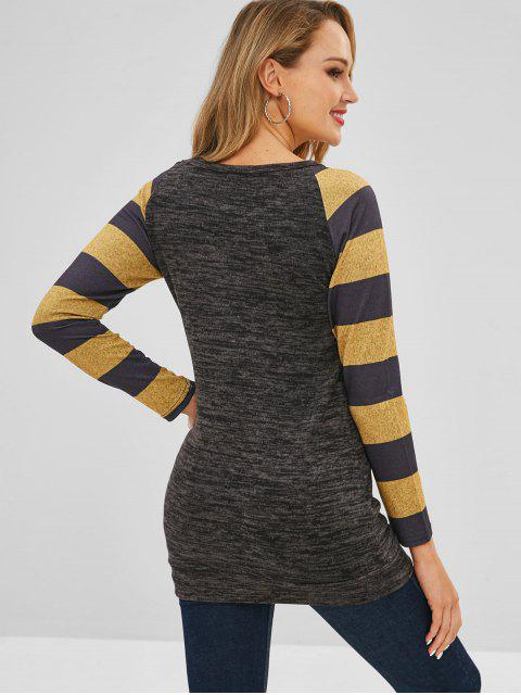 latest Striped Raglan Sleeve Knitted Tee - CARBON GRAY S Mobile