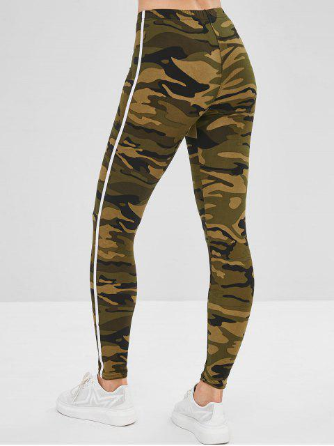 shop Striped Patched Camouflage Skinny Leggings - ARMY GREEN ONE SIZE Mobile