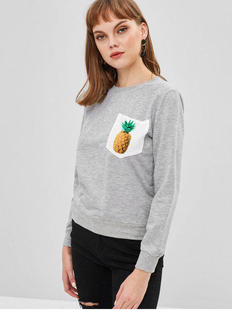 Sweat-shirt Ananas avec Poche - Nuage Gris S Mobile