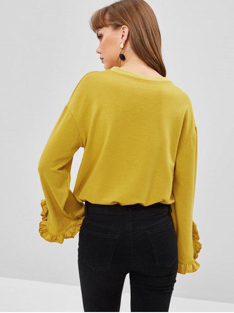 Sweat-shirt en Couleur Unie Manches à Volants - Verge d'Or S Mobile