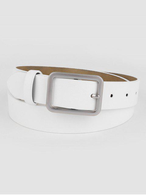 new Vintage White Faux Leather Silver Buckle Belt - WHITE  Mobile
