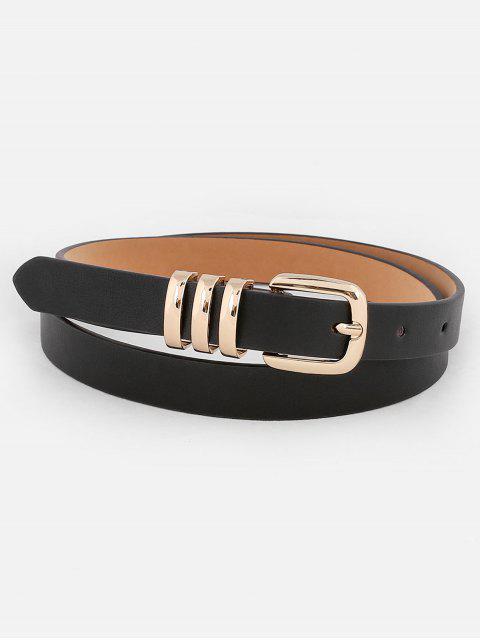 latest Alloy Buckle Embellished Faux Leather Belt - BLACK  Mobile