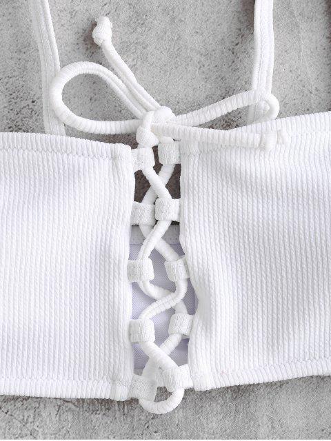 Geripptes Bikini-Set mit Schnürung - Weiß L Mobile
