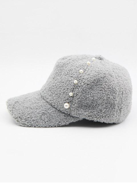 online Stylish Faux Pearl Embellished Baseball Cap - BATTLESHIP GRAY  Mobile