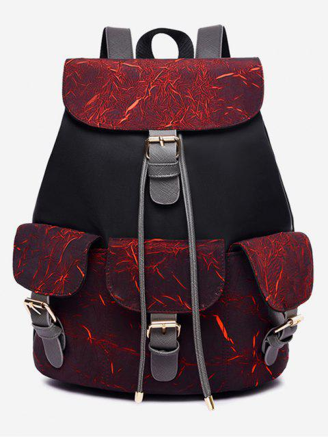 outfits Letter Pattern Wideband School Backpack - RED WINE  Mobile
