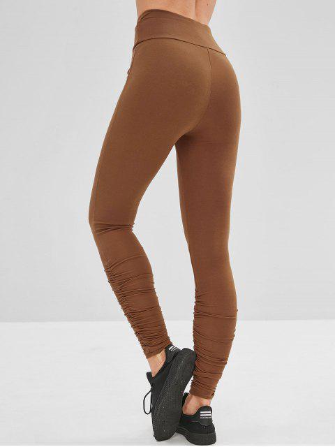 Leotardos de gimnasia con pliegues de cintura ancha - Marrón L Mobile