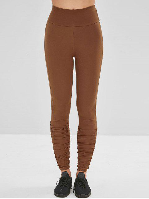 women's Wide Waistband Ruched Gym Leggings - BROWN L Mobile
