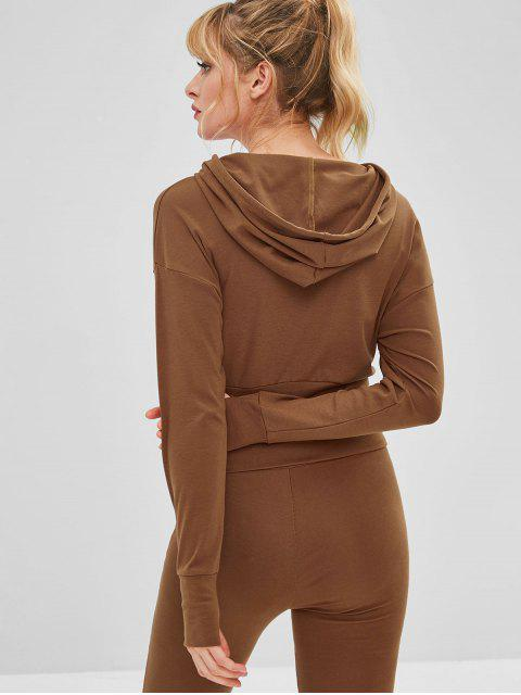 lady Drawstring Drop Shoulder Gym Hoodie - BROWN L Mobile