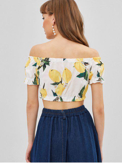 ladies Lemon Print Off Shoulder Crop Blouse - WHITE M Mobile