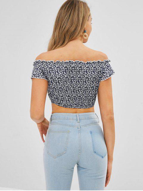 shop Tie Tiny Floral Crop Top - MIDNIGHT BLUE S Mobile