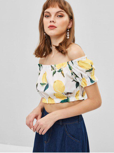 chic Lemon Print Off Shoulder Crop Blouse - WHITE XL Mobile