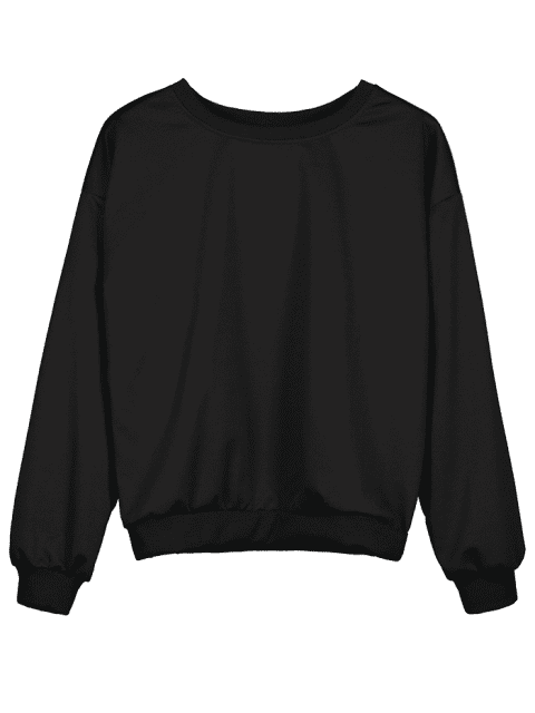 womens Contrast Two Tone Pullover Sweatshirt - BLACK ONE SIZE Mobile