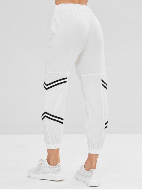 latest Chevron Stripe High Waisted Joggers Pants - WHITE M Mobile