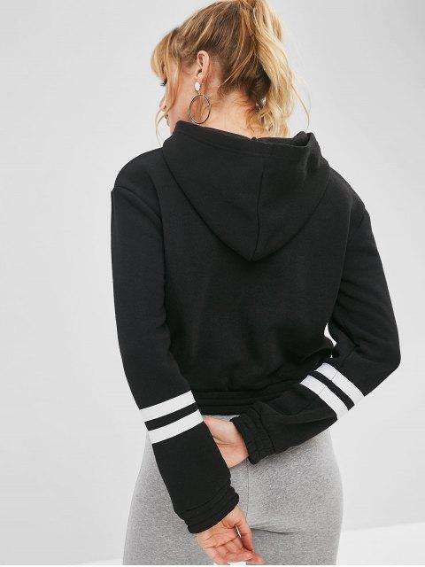 womens Drawstring Waist Fleece Lined Cropped Hoodie - BLACK S Mobile
