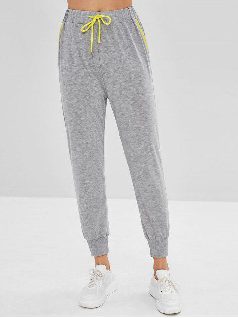 chic Contrast Drawstring Joggers Pants - LIGHT GRAY S Mobile