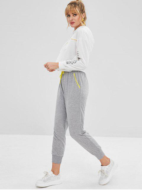 sale Contrast Drawstring Joggers Pants - LIGHT GRAY M Mobile