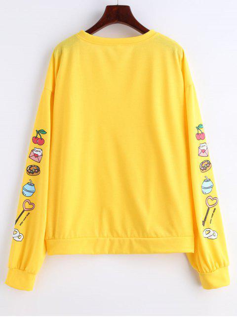 Sweat-shirt Lâche Graphique à Manches Imprimées - Jaune de Maïs  L Mobile