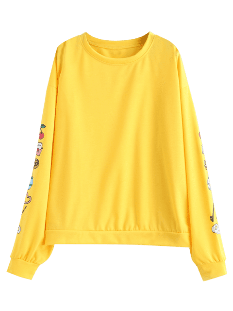 outfits Sleeve Loose Graphic Sweatshirt - CORN YELLOW M Mobile