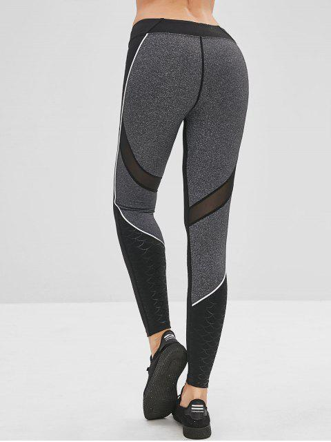 sale Color Block Fish Scale Mesh Insert Leggings - BLACK L Mobile