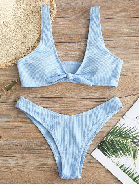 Ensemble de Bikini Côtelé Noué en Avant - Bleu Ciel Léger  M Mobile