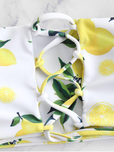 latest ZAFUL Lace-up Lemon Print Bikini Set - WHITE M Mobile