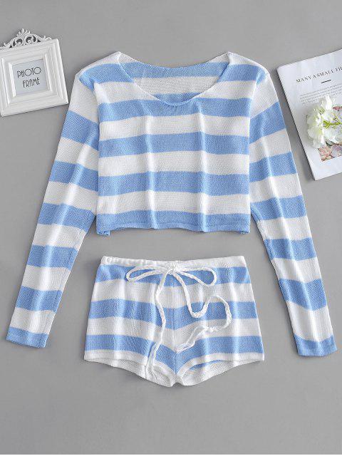 Conjunto de suéter a rayas y pantalones cortos - Celeste Ligero Única Talla Mobile
